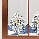 Scheibengardinen von kollektion.MT Landhausgardine Winter-Scheibenhänger Winterdorf Natur Plauener Spitze mit Besticktem Organza-Einsatz in 3 Höhen