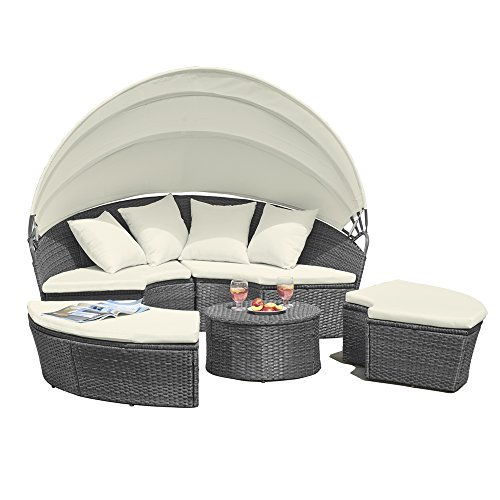 Clifford James Rattan Garden Furniture Sun Lounger Day Bed with Folding Canopy, Outdoor Sofa Seat for Patio & Conservatory with Cream Cushions (Grey)