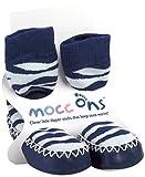 Mocc Ons Cute Moccasin Style Slipper Socks, Zebra Print