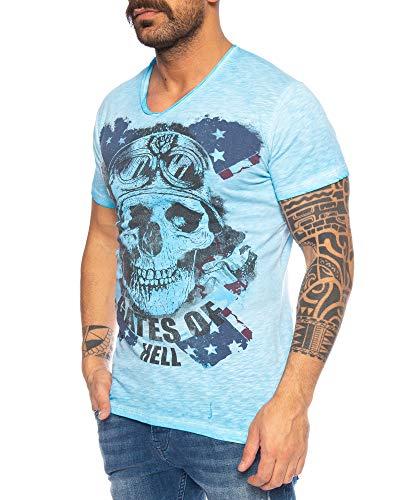 LARAZÉ Danger Skull Herren T-Shirt Tee Kurzarm Shirt Mit V-Ausschnitt S-XXL, Größe:M, Farbe:Blau -