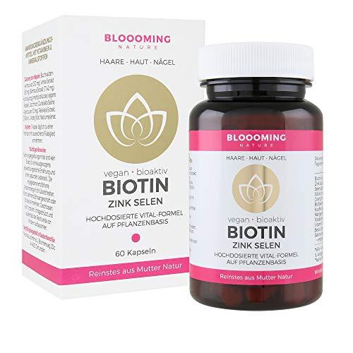 BIOTIN hochdosiert & vegan - natürliche Vital-Formel für gesunde Haare, Haut & Nägel - mit Zink, Selen, Folsäure, Kupfer, Beta Carotin & Vitamin C - Made in Germany, 60 Kapseln - Natur Aus Zink Vitamine