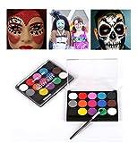 koobea Kit de pintura facial, fiesta de maquillaje, maquillaje de 15 colores no tóxicos a base de agua, pintura corporal, ideal para maquillaje de niños, adultos, fiestas