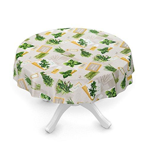 Nappe en toile cirée lavable avec motifs herbes aromatiques/basilic bio, vert/beige, taille au choix, Toile cirée, Kräuter Grün Beige Bio Basilikum, Oval 140 x 180cm