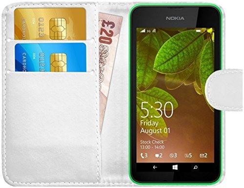 G-Shield Hülle für Nokia Lumia 530 Klapphülle mit Kartenfach - Weiß