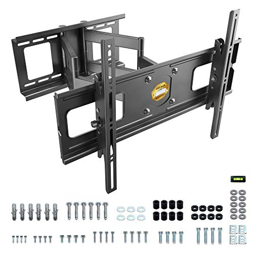 RICOO Strong TV Wall Bracket Mount Tilt & Swivel R06 for approx 40-75 Inch Screens, Cantilever Mounting Holder Arm also for Curved 4K LCD LED Television, Universal for VESA 300x200 600x400 Black