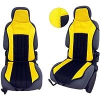 CSC105 - Schienali cuscino del sedile auto , copertura di sede dell'automobile , Seggiolino Auto Protector Coprisedili Nero / Giallo
