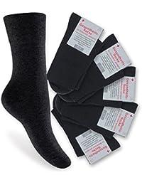 6 Paar Damen Diabetiker Socken - Nicht einschneidend - Spitze handgekettelt, Pique-Komfortbund - verschiedene Farben und Größen 35-38 wählbar - Qualität von celodoro