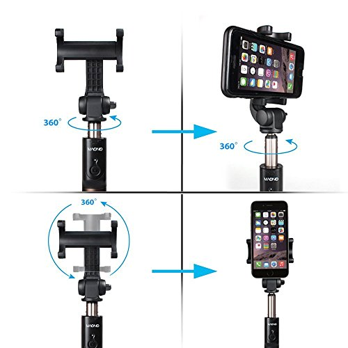 Selfie Stick, MAONO Integrated Foldable Tripod with Rechargeable Bluetooth  Remote Shutter and Vertical 360° Rotation Phone Holder for iPhone, Android