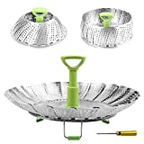 Steamers for Cooking Stainless Steel Vegetable Steamer Basket, Folding Steamer Insert Fits Various Size Pot and InstaPot Pressure Cooker, with Anti-hot Extendable Handle and Non-Slip Legs (6'-9')