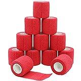 YUMAI Bandage coh¨¦SIF de Premiers Secours Ruban adh¨¦SIF Wrap 5 cm ¡Á 4.5 m Lot DE 12 Approuv la FDA ¨C Rouge