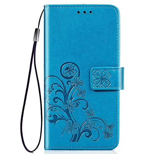 PICKQIU Coque pour Vivo Z3x, Etui Portefeuille Fabriqué à la Main, Housse  avec Etui de téléphone imprimé pour Vivo Z3x -Bleu