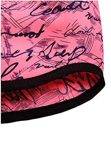 G-Fengshang Damen Handschrift gedruckt Badeanzug Tankini unten Strand Boardshorts Rosy