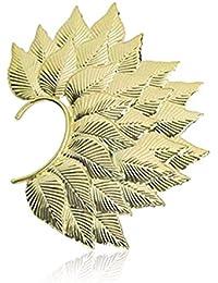 Via Mazzini Inspired Fohawk Leaf Gold Ear Cuff Earring for Women (Single Piece)