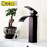 iDeko® Robinet Mitigeur lavabo cascade robinet salle de bain en laiton style antique avec Flexible x 2