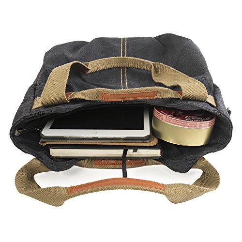 Borsa da donna a tracolla da spalla di tela, Borsa da donna a mano per viaggi, studenti, lavori e altro uso quotidiano ( Marrone ) 3-nero