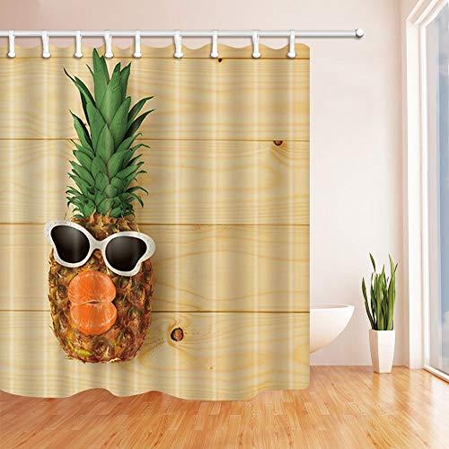 MMPTN Tropical Fruit Decor Fashion Ananas mit Sonnenbrille aus Holz Duschvorhänge Polyester Stoff Wasserdicht Bad Vorhang 71X71 in Duschvorhang Haken Enthalten Orange Handgemalte