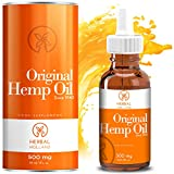 Hemp Oil Drops by Herbal Holland for Pain Anxiety Relief High Strength 500mg, 30ml - 100% Natural for Sleep, Stress, Energy, Focus, Skin, Joint Support - 3rd Party Tested - Suitable for Vegan, Dogs