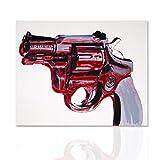 Pintura sobre lienzo revólver Magnum Andy Warhol Quadro - Acrílico sobre lienzo, madera hechos a mano marco listo para colgar - Declea