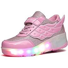SGoodshoes Mujer LED Zapatos con Ruedas Hombre Zapatillas Deporte Patín Ruedas Zapatos con Luces para Niñas Niños