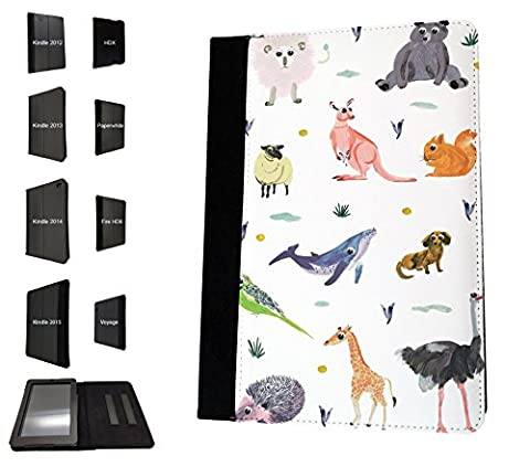 "1862 - Cool Fun Zoo Animals Bear Ostrich Giraffe Lion Kangaroo Squirrel Wildlife Design Amazon kindle Fire HD 10"",10.1"" Fashion Trend Book Style Coque Purse Wallet Pouch portefeuille Poche Flip Coque Flip Case Coque"