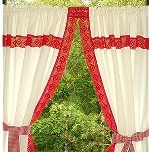 Gardinenset 2 Schals mit breiter Klöppelspitze
