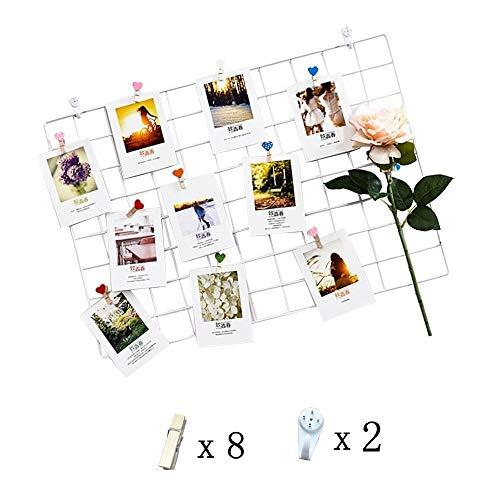 (WUZILIN DIY Eisen Gitter der Foto Wand Dekoration Plaid Foto an der Wand Hängen in der Familie, Küche, Büro und so weiter (65 * 45cm) Weiß)