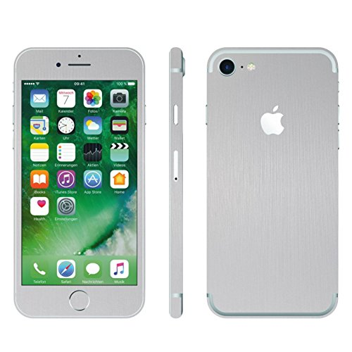 IPHONE 7 SILBER GEBÜRSTET FOLIE SKIN ZUM AUFKLEBEN bumper case cover schutzhülle i phone (Iphone 4 Gold Aufkleber Skin)