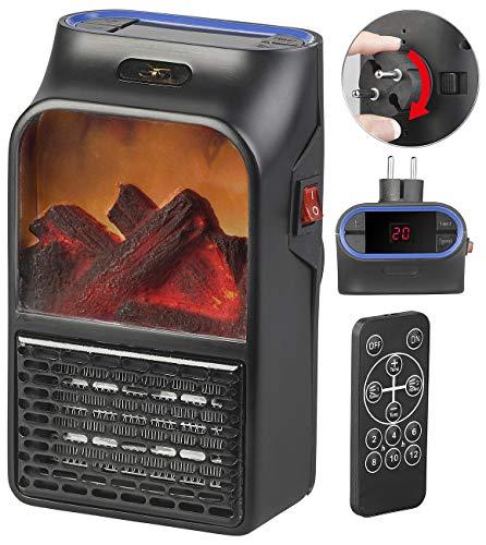 Sichler Haushaltsgeräte Mini Heizung: Steckdosen-Heizlüfter mit Kaminfeuer-Effekt und Fernbedienung, 500 W (Mini Steckdosen Heizlüfter)
