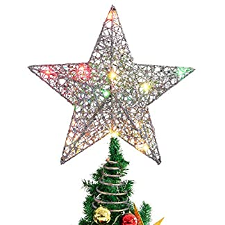 STOBOK-weihnachtsstern-Topper-Bunte-Lichter-weihnachtsstern-fr-weihnachtsbaumschmuck-partydekoration-12-Zoll-Silber
