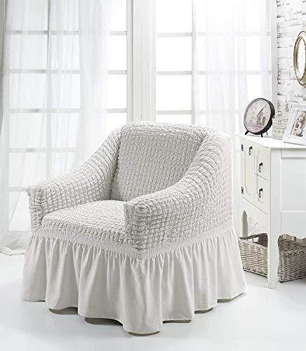 Luxus Sessel- und Sofahussen, Sessel/1-Sitzer, weiss - 8