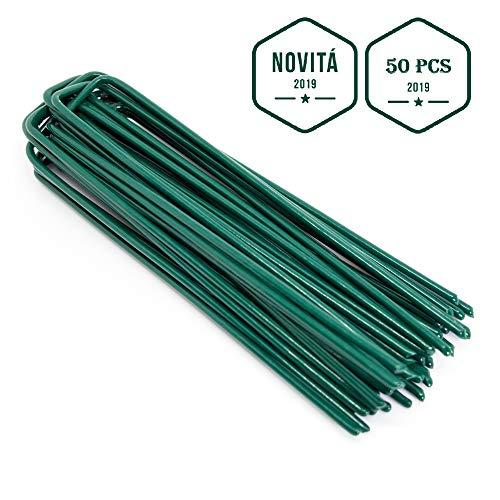 50 picchetti telo pacciamatura novità 2020 zincati con trattamento anti-ruggine efficaci chiodi a u per erba sintetica per giardino prato sintetico da esterno drenante archi per serra orto