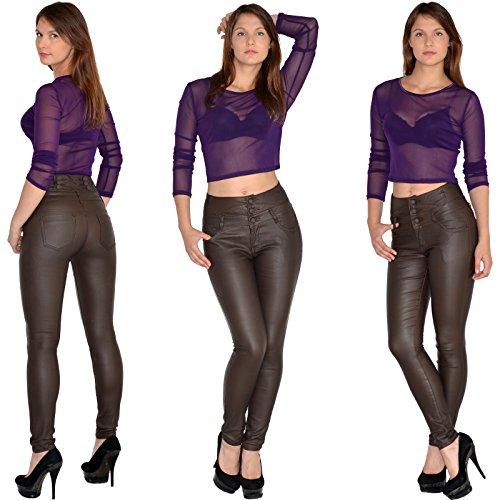 by-tex Jean femme skinny Jeans taille haute pantalon en jean femme J22 brun-cuir