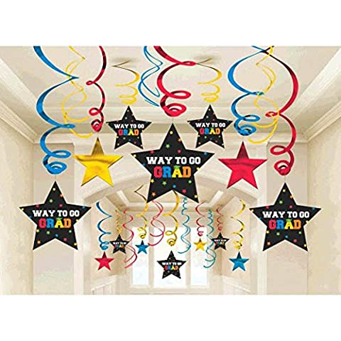 Amscan School Colors Graduation Party Swirls with Mortarboards & Diplomas Ceiling Decoration (30 Piece), Berry/Black, One Size