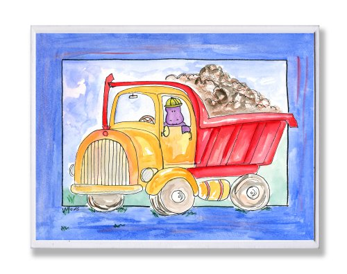The Kids Room by Stupell Red and Yellow Dump Truck with Blue Border Rectangle Wall Plaque by The Kids Room by - Red Truck Dump