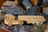 Holz LKW mit Anhänger Naturholz Modell Dekoration Fahrzeug Auto Massiv Handarbeit Lastkraftwagen Bauernhof Holzlaster Lastwagen Transporter