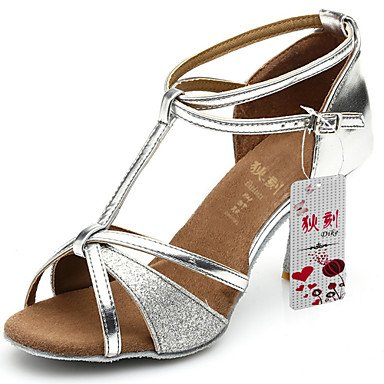 Silence @ Chaussures de danse pour femme Latin satiné/similicuir/paillettes scintillantes Talon Noir/marron/argenté/doré Silver