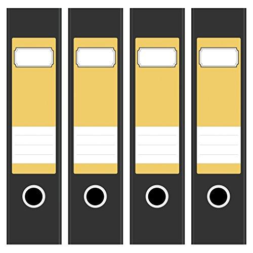 4 x farbige Akten-Ordner Etiketten / Aufkleber / Rücken Sticker / Farbe Gelb / für breite Ordner / selbstklebend / 6cm breit