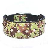VingDeone Hundehalsband aus PU-Leder mit Nieten und Verstellbarer Schnalle