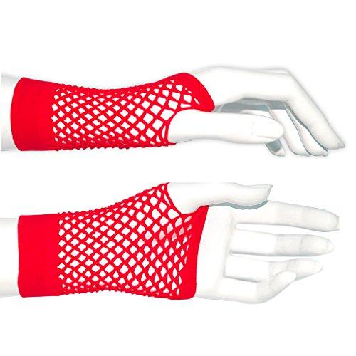 adam & eesa Fischnetz Handschuhe in rot perfekt für Fasching!