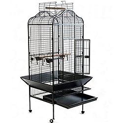 Elegante y Chic Metal loro jaula de pájaros en un diseño oriental W/Práctico Residuos Trampa