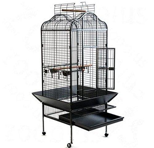 Elegante y Chic Metal loro jaula de pájaros en un diseño oriental W/Práctico...