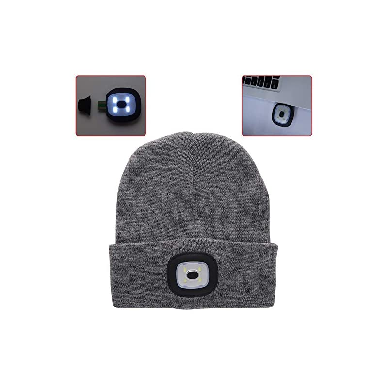 enjoydeal LED Beanie Hat Lighted Knit Hat Rechargeable Hands Free Headlamp Cap for Hunting Camping Grilling Running