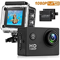 HaWacha Action Camera , 12MP 1080P 2 Inch LCD Screen , Waterproof Sports Cam 140 Degree Wide Angle Lens , 30m Sport Camera DV Camcorder With 2 Rechargeable Batteries and 9 Accessory Kit (Black-1080P)