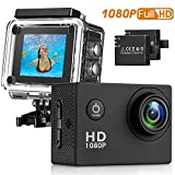 HaWacha Action Camera , 12MP 1080P 2 Inch LCD Screen , Waterproof Sports Cam 140 Degree Wide Angle Lens , 30m Sport Camera DV Camcorder With 2 Rechargeable Batteries and 9 Accessory Kit (Black-1080P) image