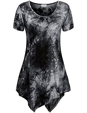 KorMei - Camiseta - Túnica - Efecto teñido - Cuello redondo - Manga corta - para mujer