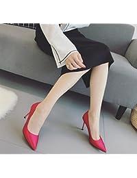 GTVERNH-La Nuova Fibbia Matrimonio Scarpe Degli Stivali Col Tacco Alto 10Cm Martin Con Una Multa Rotonde Di Colore 37 Gules