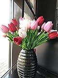 witgift 20 Tulipani Artificiali, Bouquet di Tulipani Finti per casa, Cucina, Soggiorno, Sala da Pranzo, Decorazione per Matrimoni (Bianco, Rosa, Rosso)