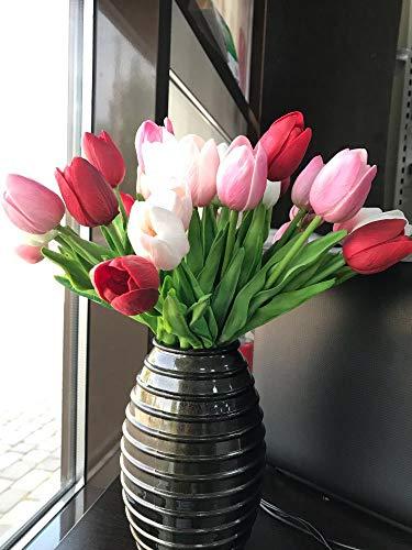 showll Künstliche Tulpen, 20 Stück Tulpe künstliche Blume Latex Real Touch Bridal Wedding Bouquet für Hochzeits-Bouquets, Zuhause, Hotel, Garten-Deco,2 Farbe (Hellrosa tiefrosa rot)