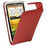 igadgitz Rot Leder Tasche Schutzhülle Hülle Etui case für HTC One X S720e & HTC One X+ Plus Android Smartphone Handy + Display Schutzfolie