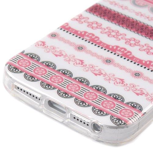 tinxi® Indian Stil Schutzhülle für Apple iPhone 5 5S Hülle TPU Silikon Rückschale Schutz Hülle Silicon Tasche Case Etui pink Blumen und Rund pink Blumen Rund